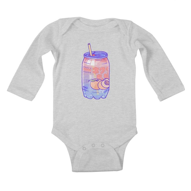 Peach Bubbles Kids Baby Longsleeve Bodysuit by Laura OConnor's Artist Shop