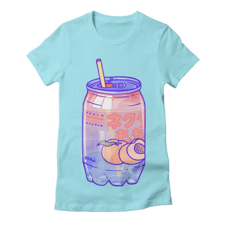 Peach Bubbles Women's Fitted T-Shirt by Laura OConnor's Artist Shop