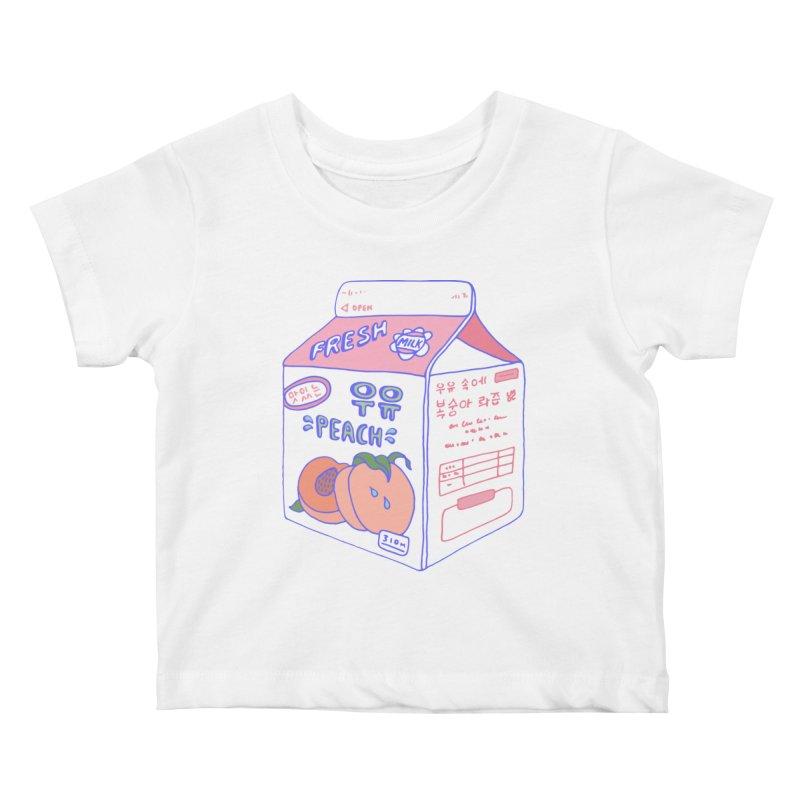 Peach Milk Kids Baby T-Shirt by Laura OConnor