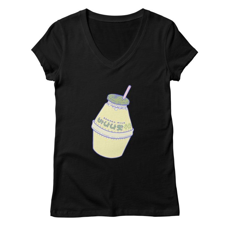 Banana Milk Women's V-Neck by Laura OConnor
