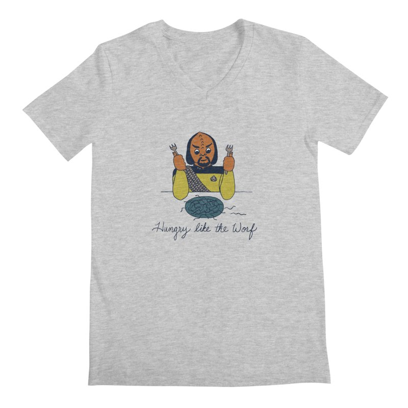 Hungry Like The Worf Men's Regular V-Neck by laurastead's Artist Shop