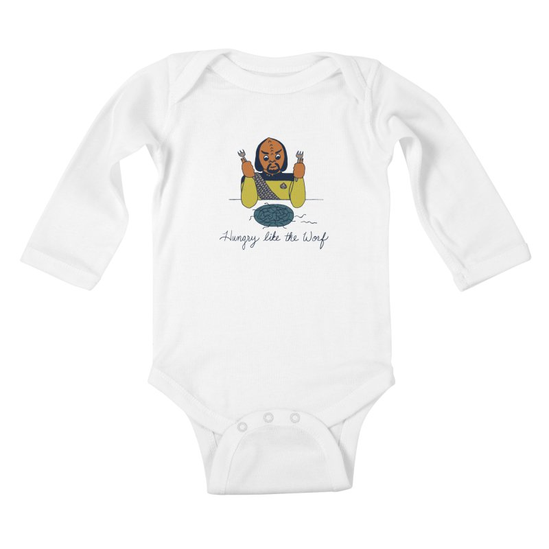Hungry Like The Worf Kids Baby Longsleeve Bodysuit by laurastead's Artist Shop