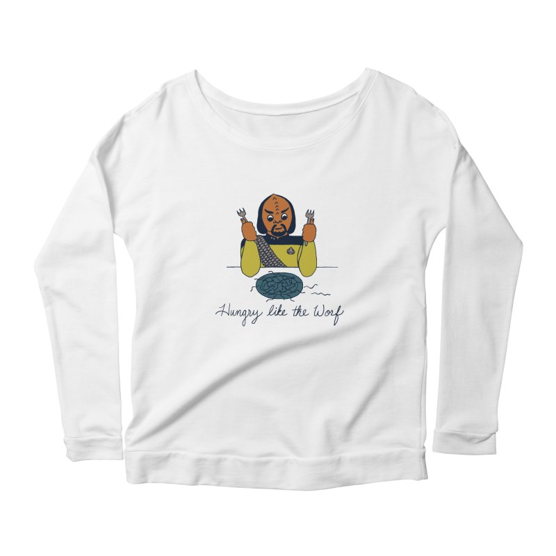 Hungry Like The Worf Women's Scoop Neck Longsleeve T-Shirt by laurastead's Artist Shop