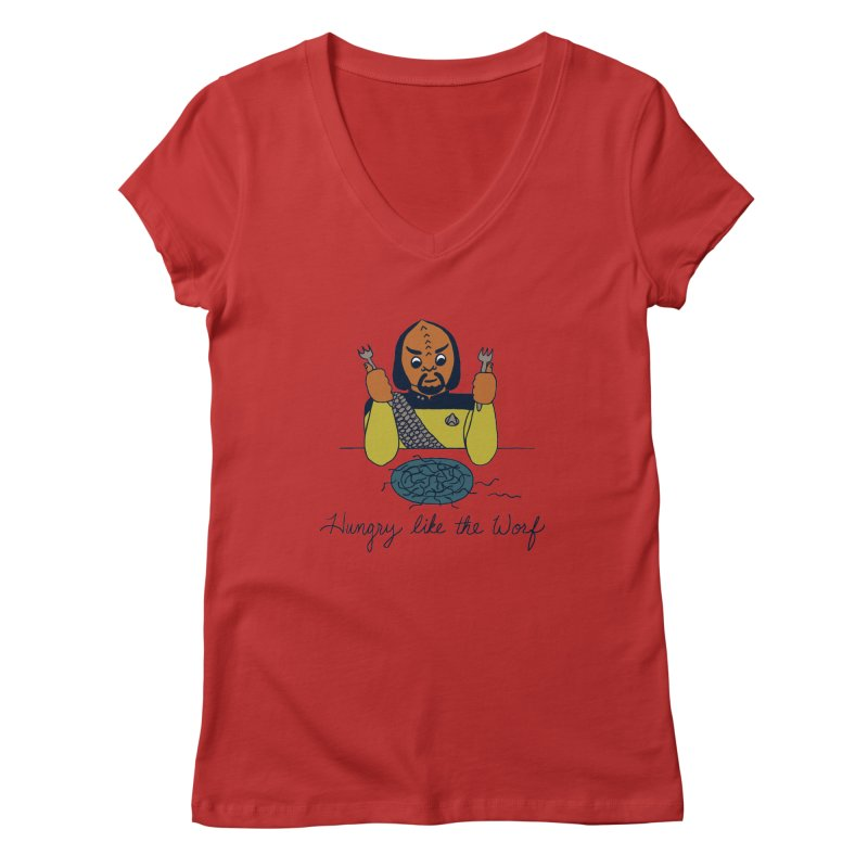 Hungry Like The Worf Women's V-Neck by laurastead's Artist Shop