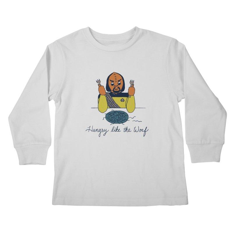 Hungry Like The Worf Kids Longsleeve T-Shirt by laurastead's Artist Shop