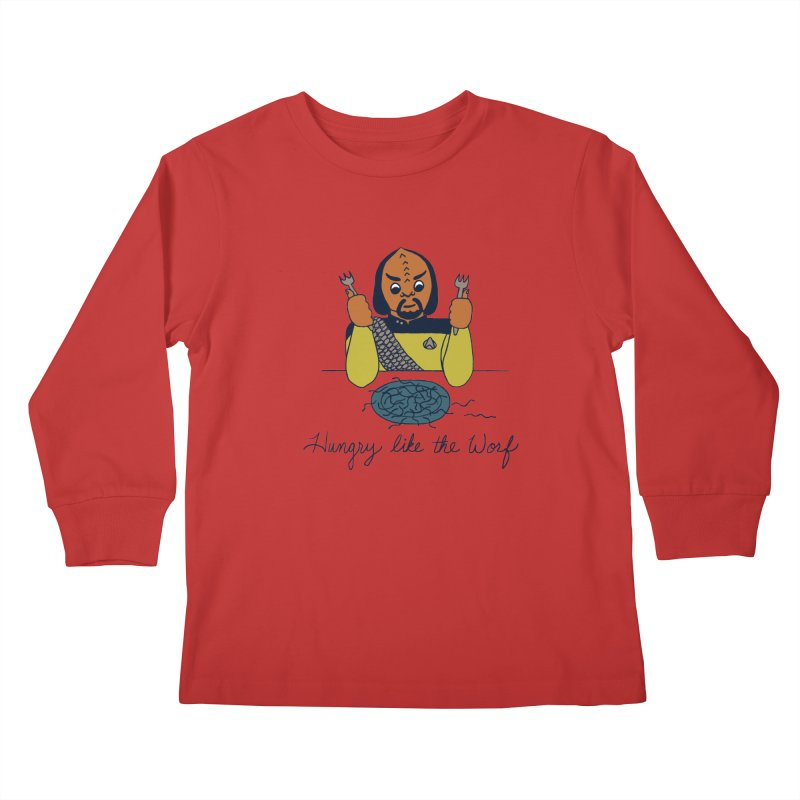 Hungry Like The Worf Kids Longsleeve T-Shirt by laurastead's Artist Shop