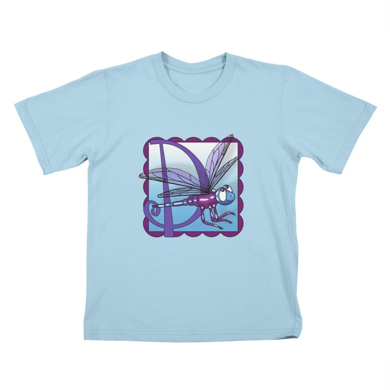 D is for Dragonfly in Kids T-Shirt Powder Blue by Laure Carlisle's Artist Shop
