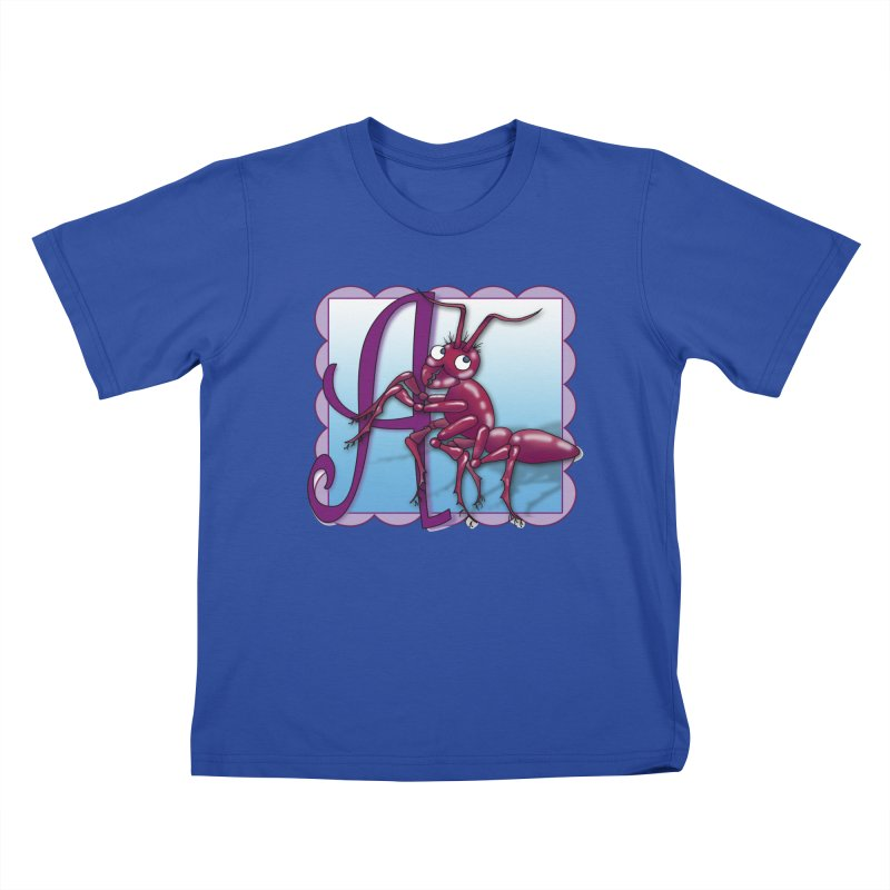 A is for Ant in Kids T-Shirt Royal Blue by Laure Carlisle's Artist Shop