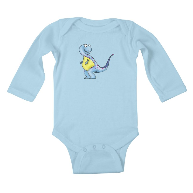 Hitching a Ride in Kids Baby Longsleeve Bodysuit Powder Blue by Laure Carlisle's Artist Shop