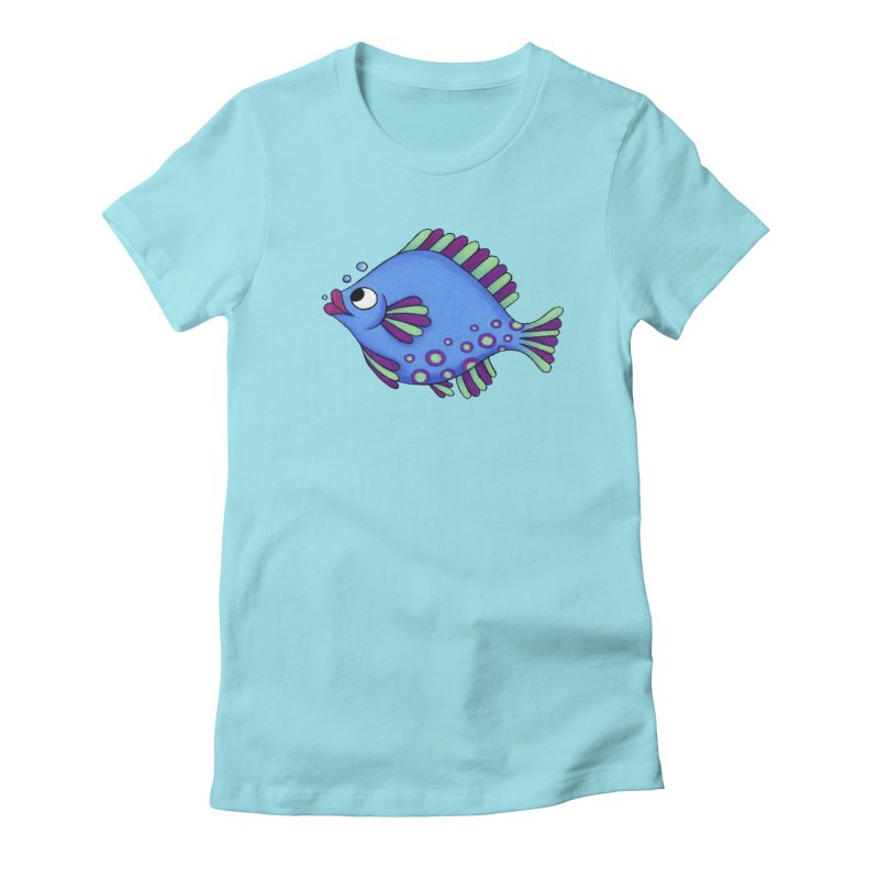 Fish Lips in Women's Fitted T-Shirt Cancun by Laure Carlisle's Artist Shop