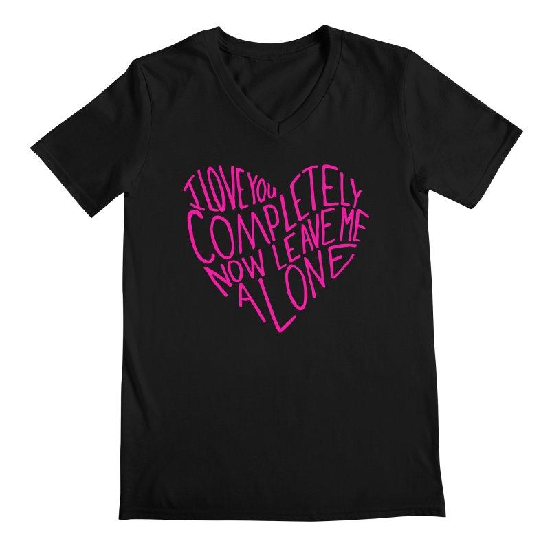 Introvert Love (Pink) Men's Regular V-Neck by Lauren Things Store
