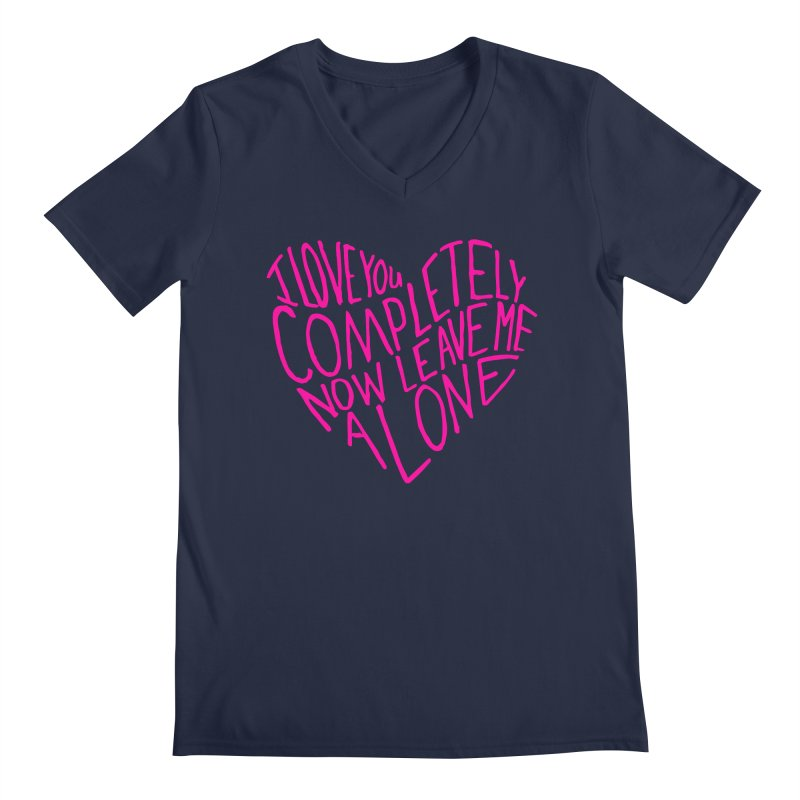 Introvert Love (Pink) Men's Regular V-Neck by Lauren Things Store