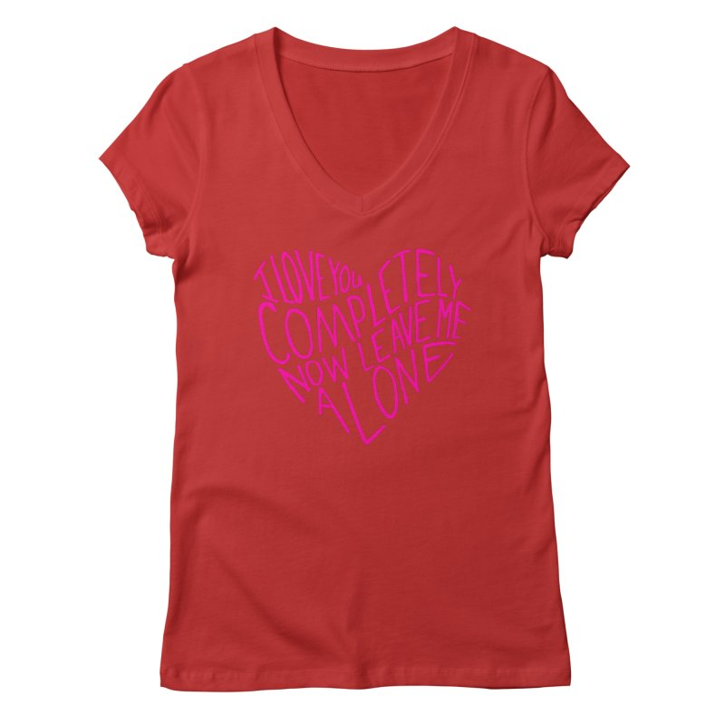 Introvert Love (Pink) Women's Regular V-Neck by Lauren Things Store