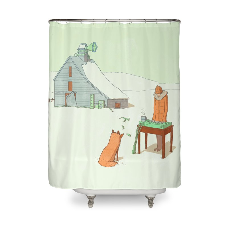 Winter Fox Home Shower Curtain by Laurent's Artist Shop