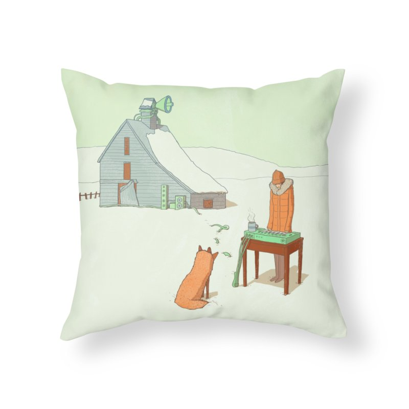 Winter Fox Home Throw Pillow by Laurent's Artist Shop