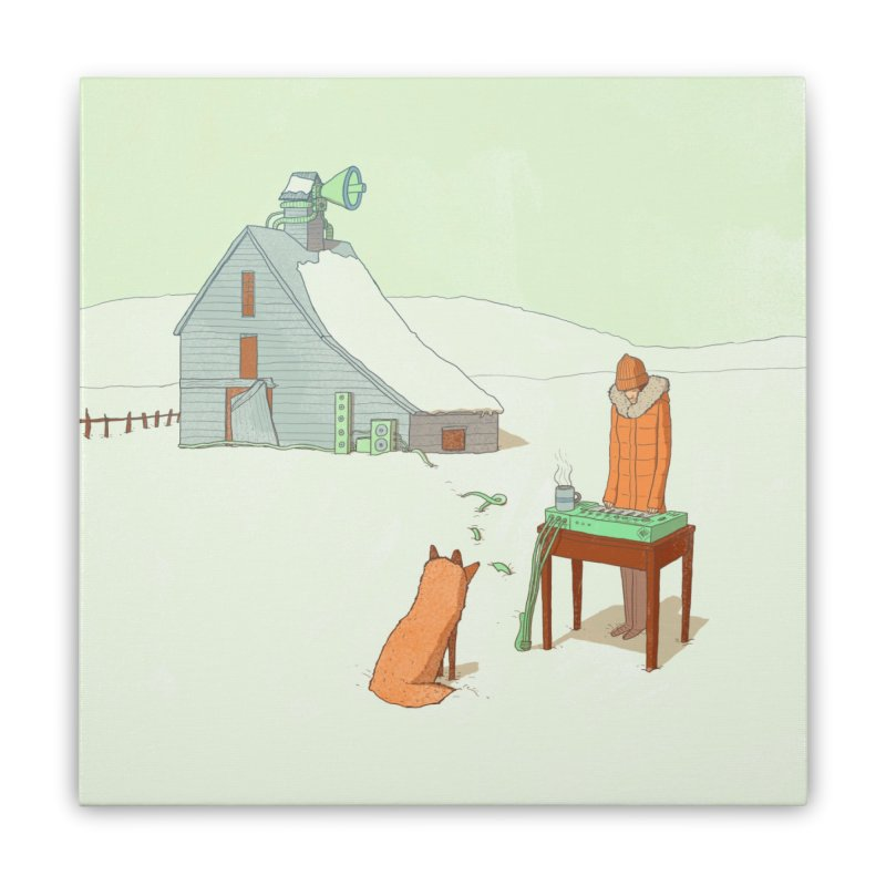 Winter Fox Home Stretched Canvas by Laurent's Artist Shop