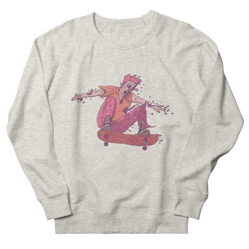 Zombie Skater #1 Men's French Terry Sweatshirt by Laurent's Artist Shop