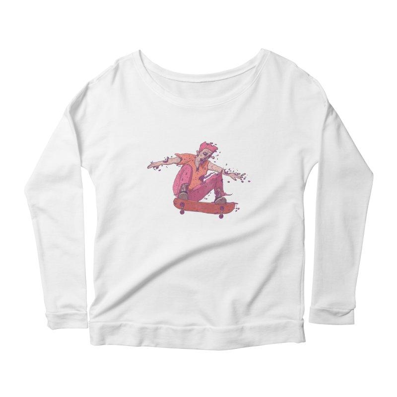 Zombie Skater #1 Women's Scoop Neck Longsleeve T-Shirt by Laurent's Artist Shop