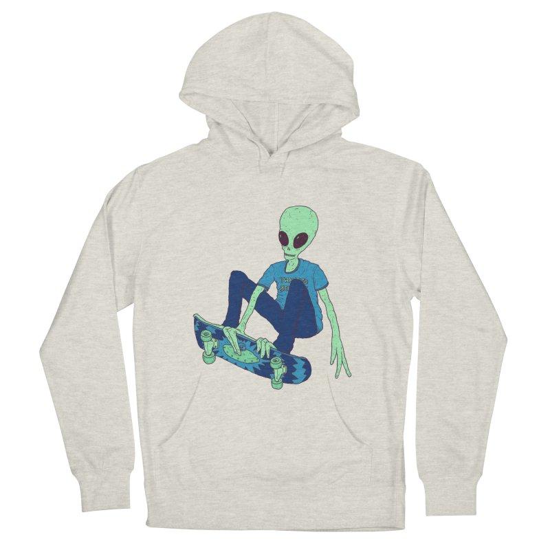 Alien Skater Men's French Terry Pullover Hoody by Laurent's Artist Shop