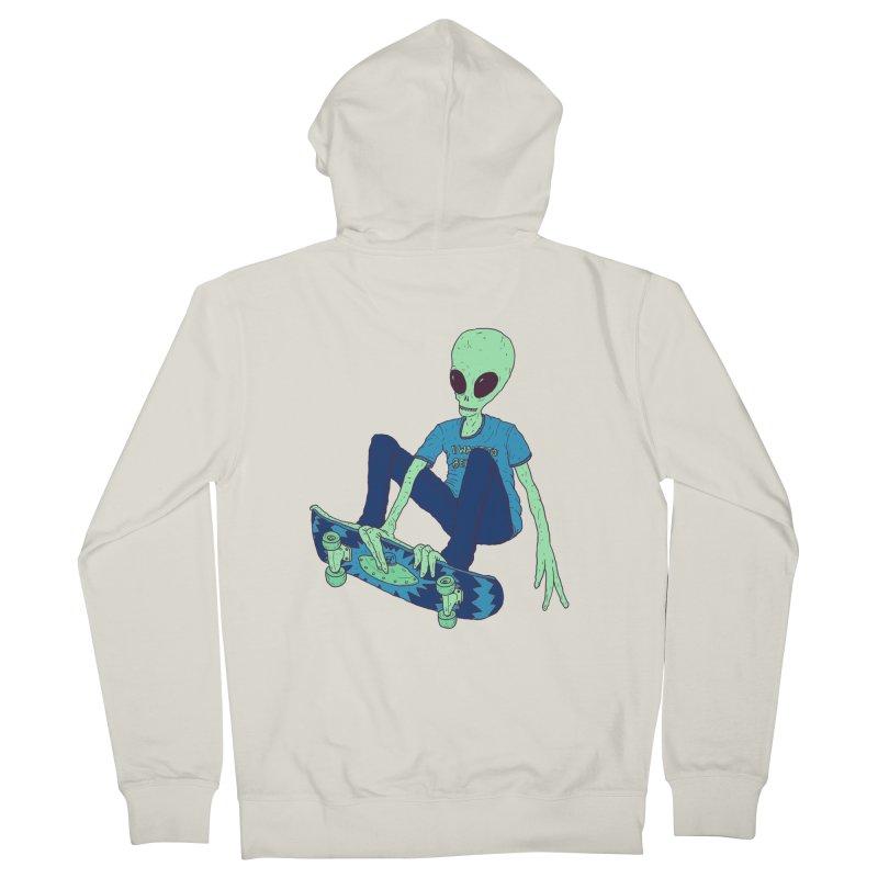 Alien Skater Women's French Terry Zip-Up Hoody by Laurent's Artist Shop