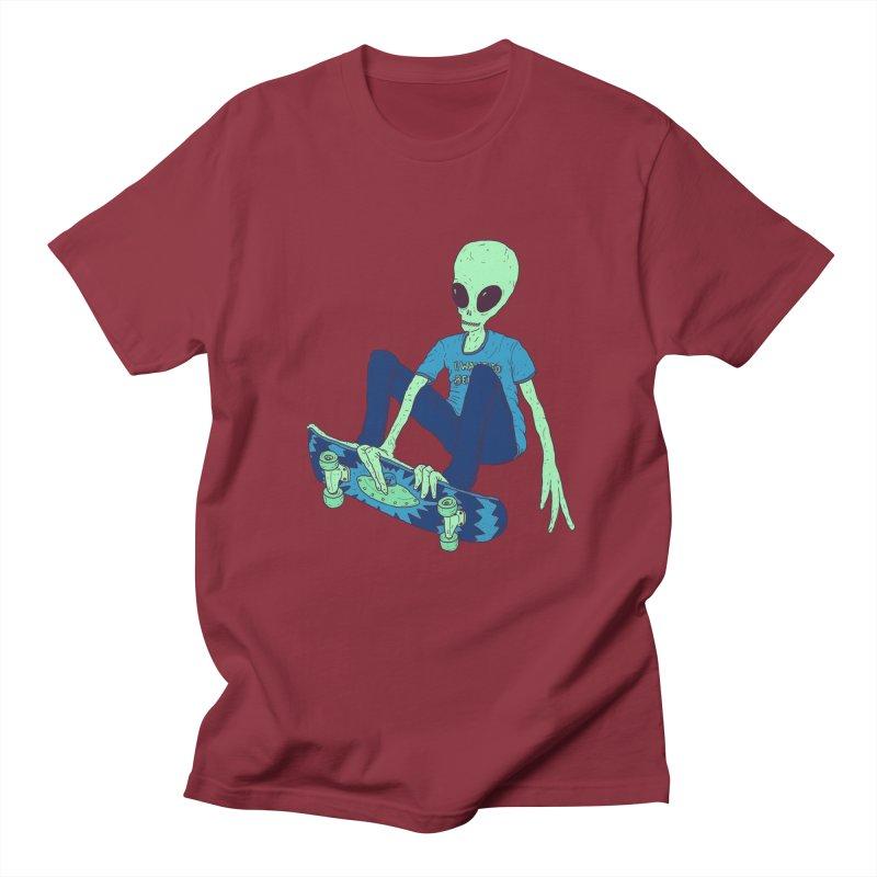 Alien Skater Men's Regular T-Shirt by Laurent's Artist Shop