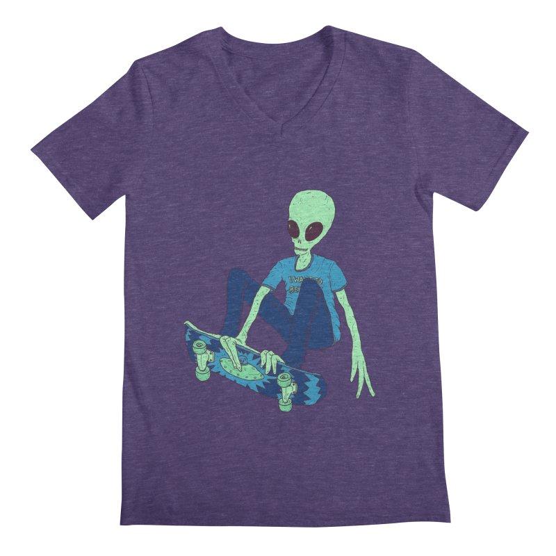 Alien Skater Men's V-Neck by Laurent's Artist Shop