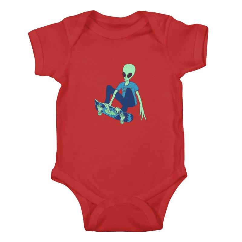 Alien Skater Kids Baby Bodysuit by Laurent's Artist Shop