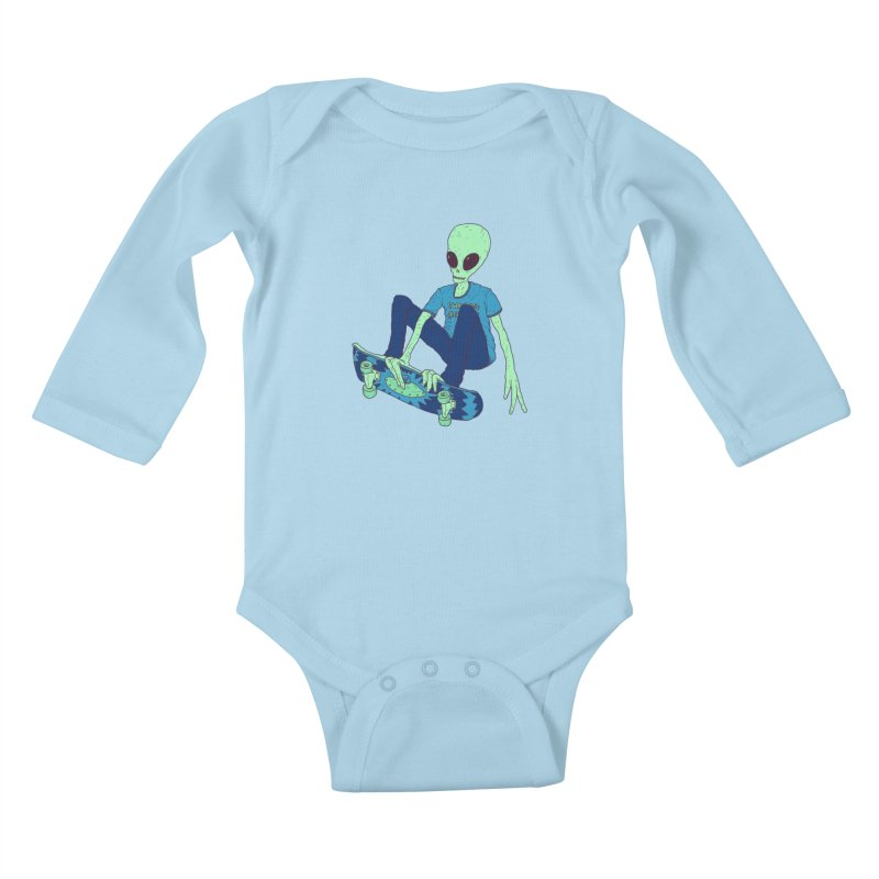 Alien Skater Kids Baby Longsleeve Bodysuit by Laurent's Artist Shop