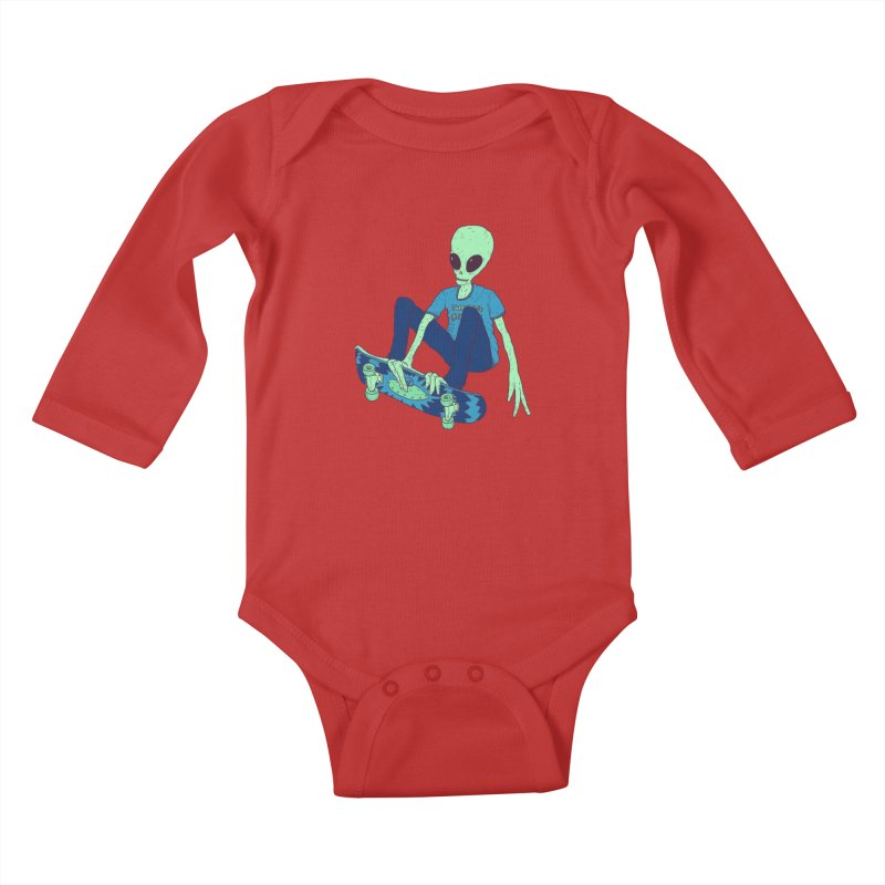 Alien Skater Kids Baby Longsleeve Bodysuit by Laurent's Artist Shop