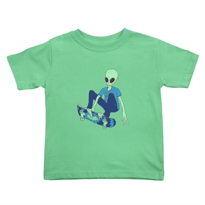 Alien Skater Kids Toddler T-Shirt by Laurent's Artist Shop
