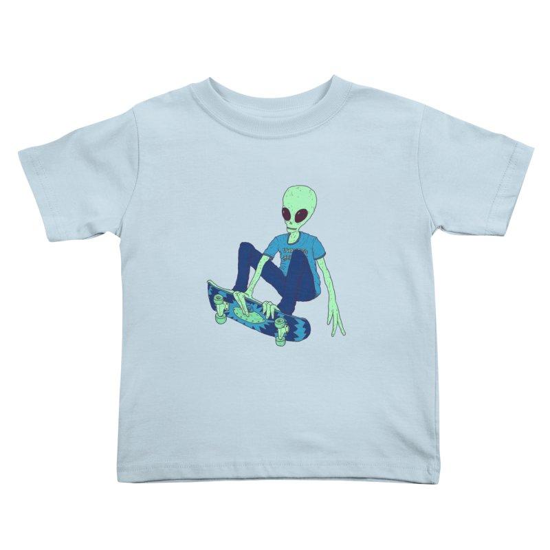 Alien Skater Kids Toddler T-Shirt by Laurent's Artist Shop