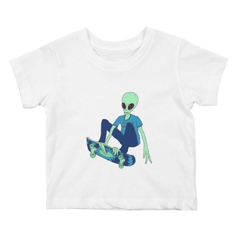 Alien Skater Kids Baby T-Shirt by Laurent's Artist Shop