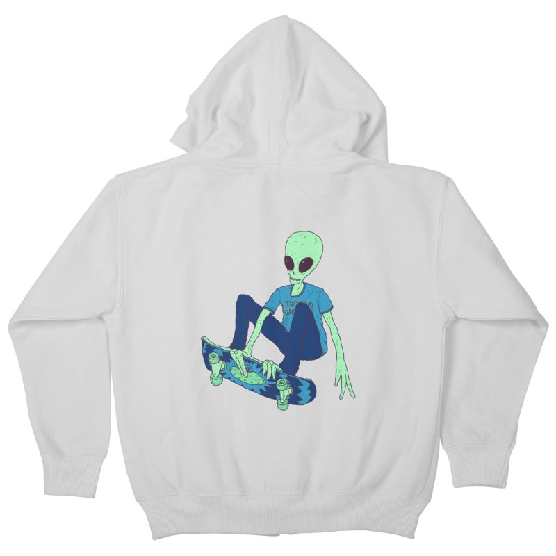 Alien Skater Kids Zip-Up Hoody by Laurent's Artist Shop