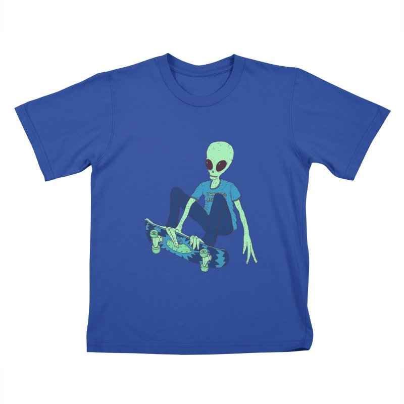 Alien Skater Kids T-Shirt by Laurent's Artist Shop