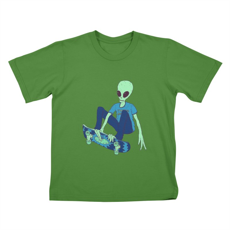 Alien Skater Kids T-shirt by Laurent's Artist Shop