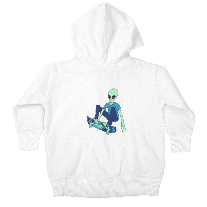 Alien Skater Kids Baby Zip-Up Hoody by Laurent's Artist Shop