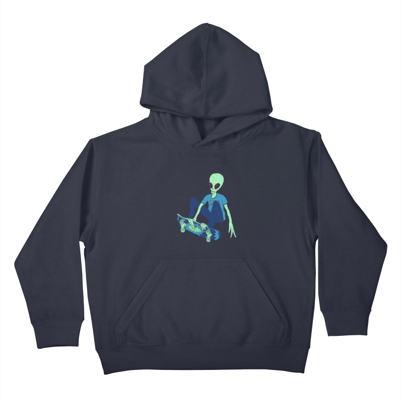 Alien Skater Kids Pullover Hoody by Laurent's Artist Shop