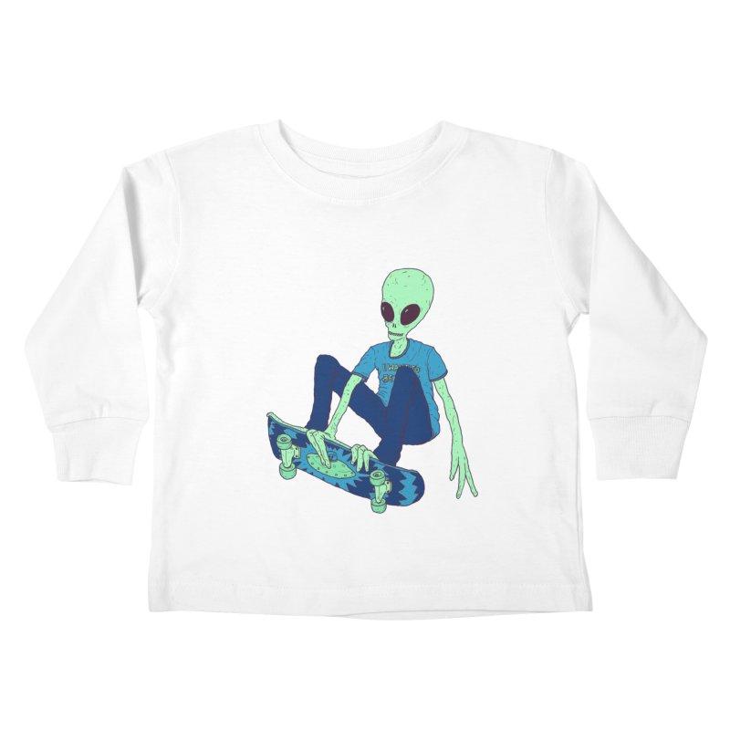 Alien Skater Kids Toddler Longsleeve T-Shirt by Laurent's Artist Shop