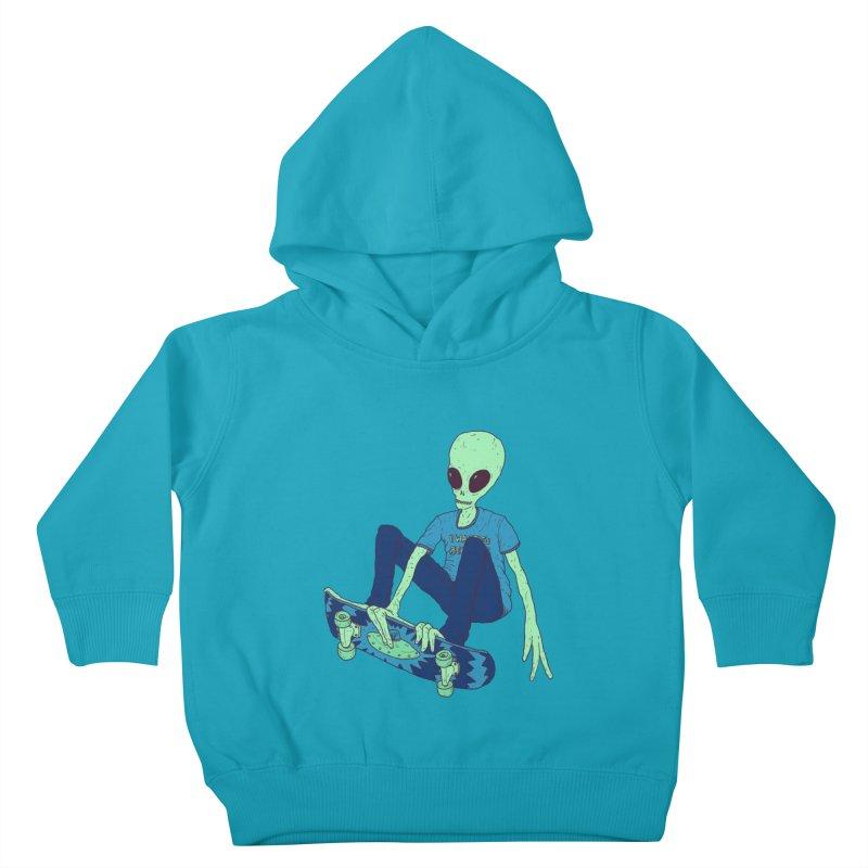 Alien Skater Kids Toddler Pullover Hoody by Laurent's Artist Shop