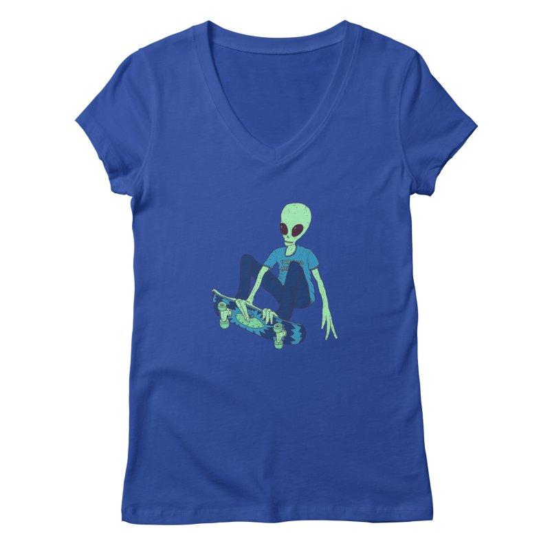 Alien Skater Women's V-Neck by Laurent's Artist Shop