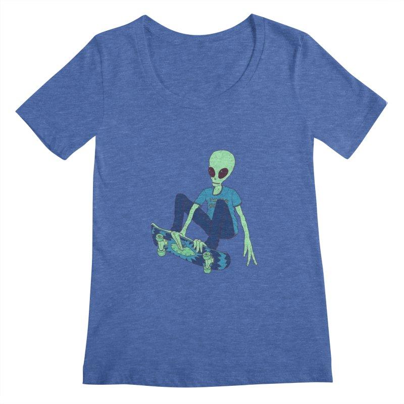 Alien Skater Women's Scoopneck by Laurent's Artist Shop