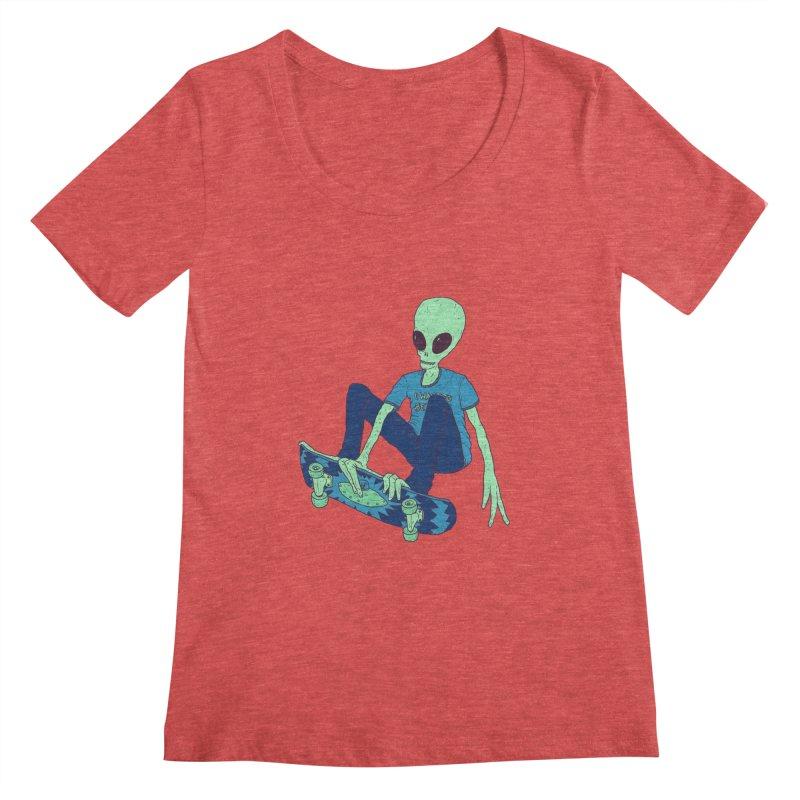 Alien Skater Women's Regular Scoop Neck by Laurent's Artist Shop