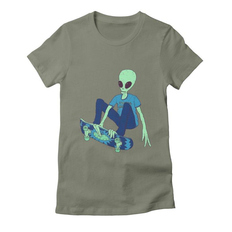 Alien Skater Women's Fitted T-Shirt by Laurent's Artist Shop
