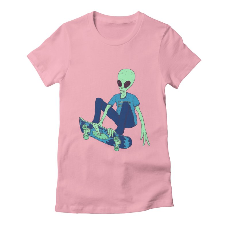 Alien Skater Women's Fitted T-Shirt by Laurent's Artist Shop