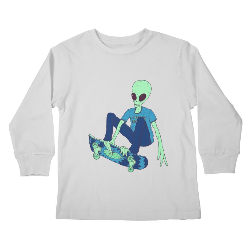 Alien Skater Kids Longsleeve T-Shirt by Laurent's Artist Shop