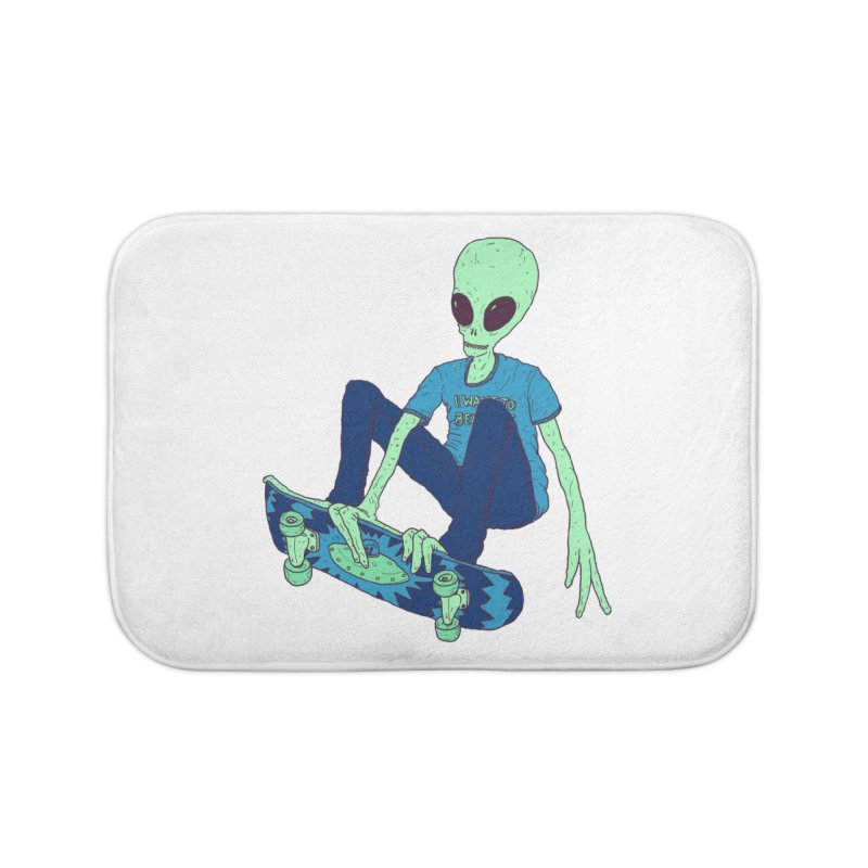Alien Skater Home Bath Mat by Laurent's Artist Shop