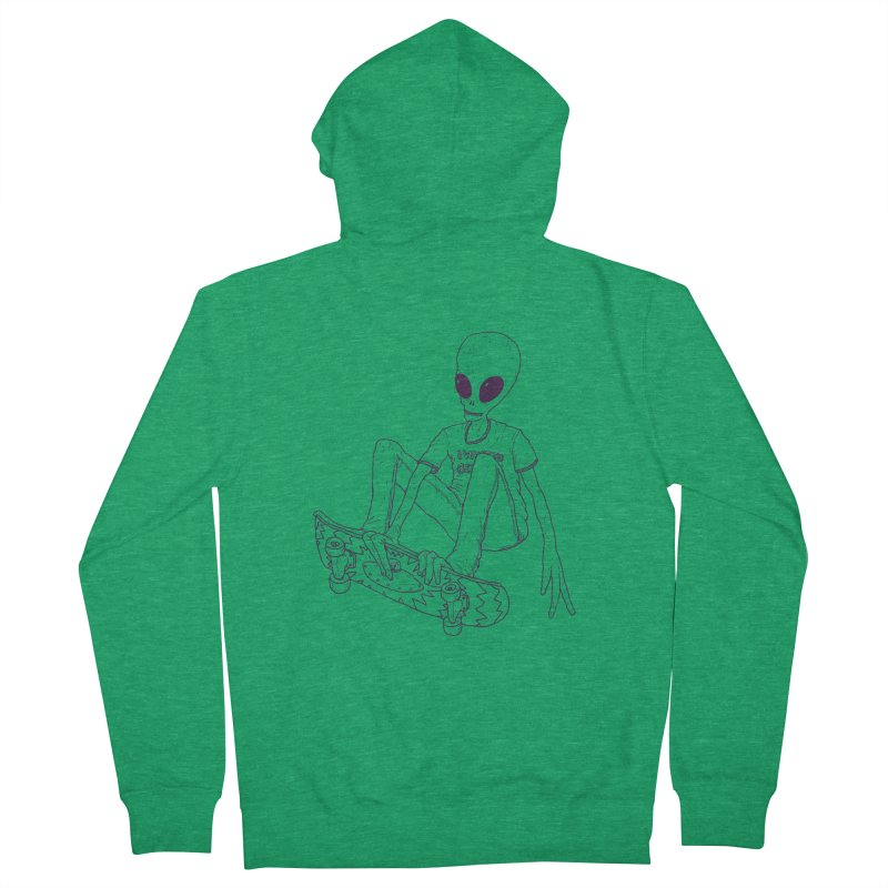Alien Skater - Alt Women's French Terry Zip-Up Hoody by Laurent's Artist Shop
