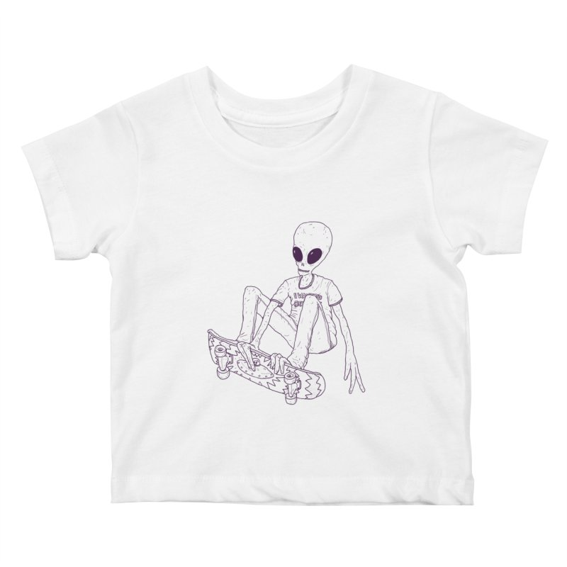 Alien Skater - Alt Kids Baby T-Shirt by Laurent's Artist Shop