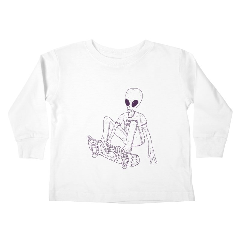 Alien Skater - Alt Kids Toddler Longsleeve T-Shirt by Laurent's Artist Shop