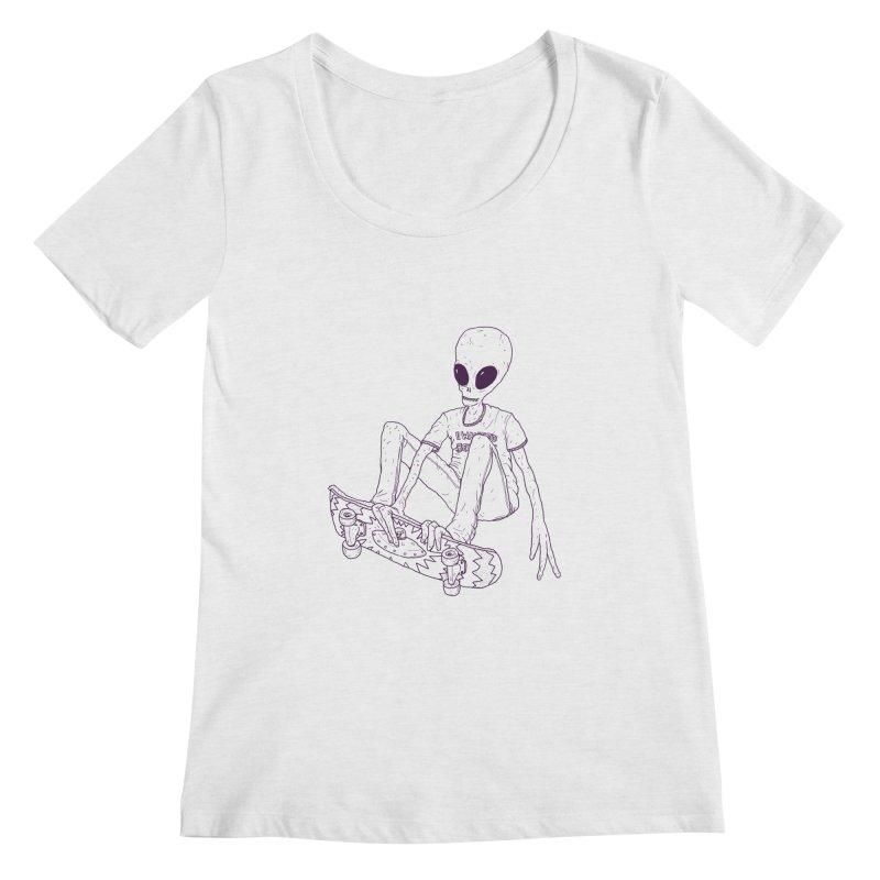 Alien Skater - Alt Women's Regular Scoop Neck by Laurent's Artist Shop